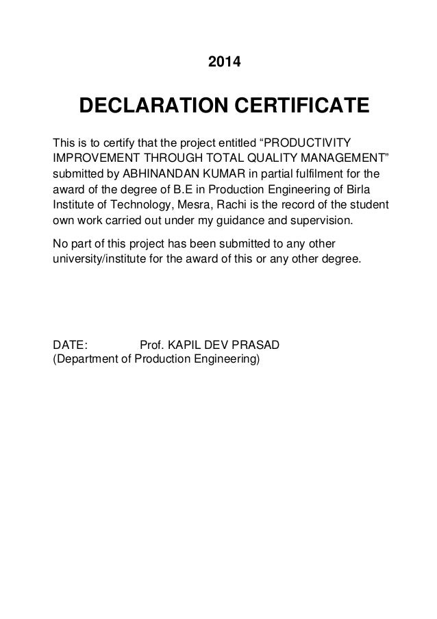how to write a declaration for a project