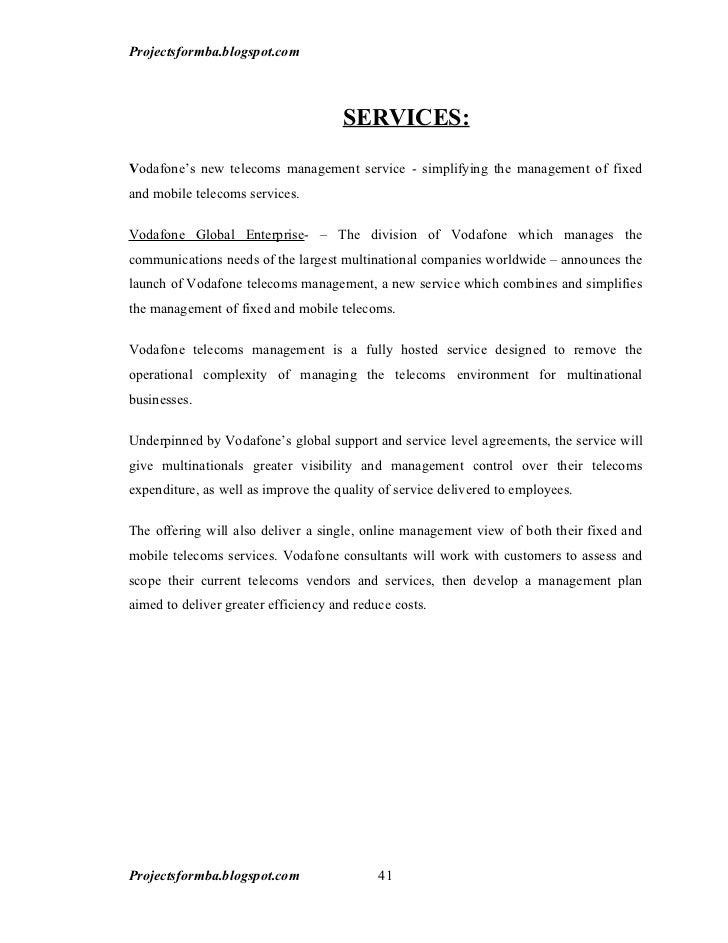 A project report of customer satisfaction survey on vodafone projectsformbaspot 40 41 spiritdancerdesigns Gallery