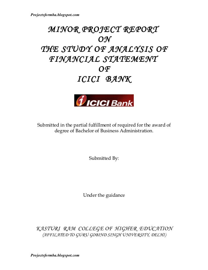 Projectsformba.blogspot.com      MINOR PROJECT REPORT                 ON     THE STUDY OF ANALYSIS OF      FINANCIAL STATE...