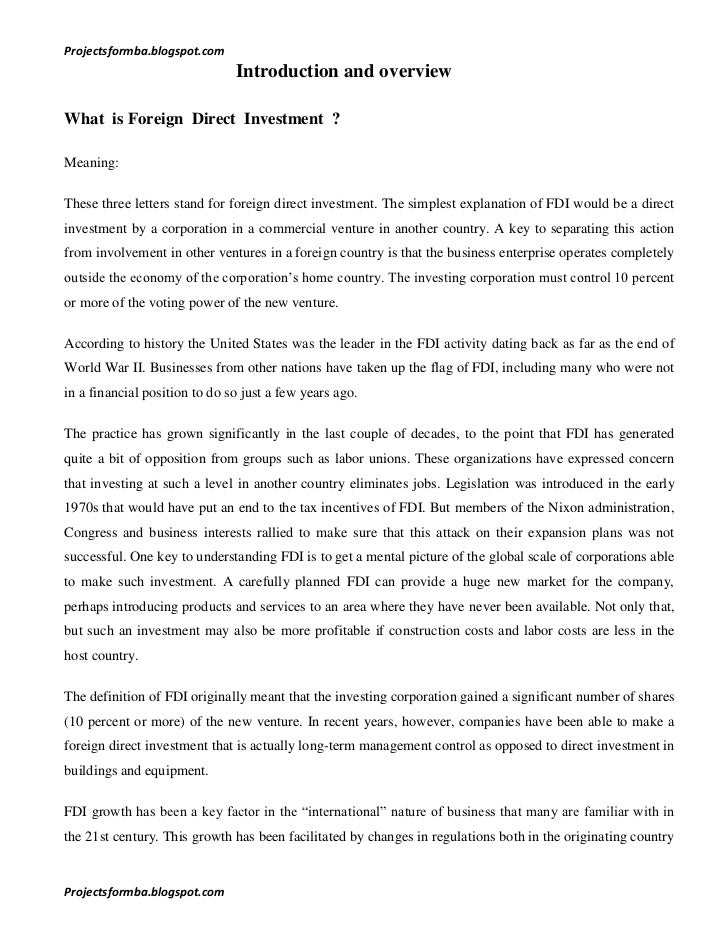 a project report on analytical study of foreign direct investment in