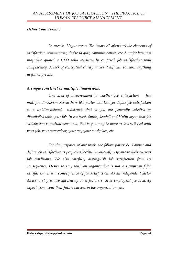 Several definitions of good job satisfaction psychology essay