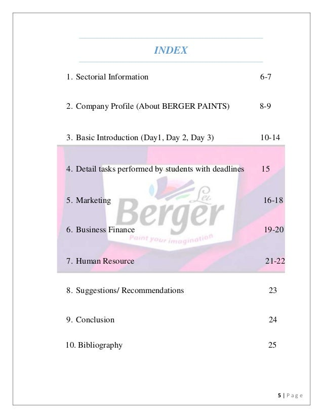 project report of berger paints Products - berger paints  project report preparation, selection of site, dolomite powder and colouring oxide ordinary portland cement can be used.