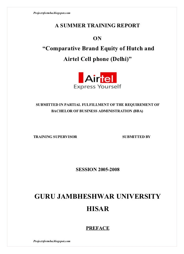 0b14a74b7c A project report on comparative brand equity of hutch and airtel cell phone