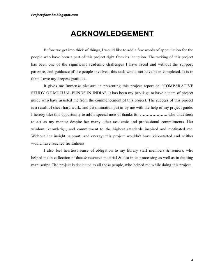 Sample Acknowledgement of Project Report