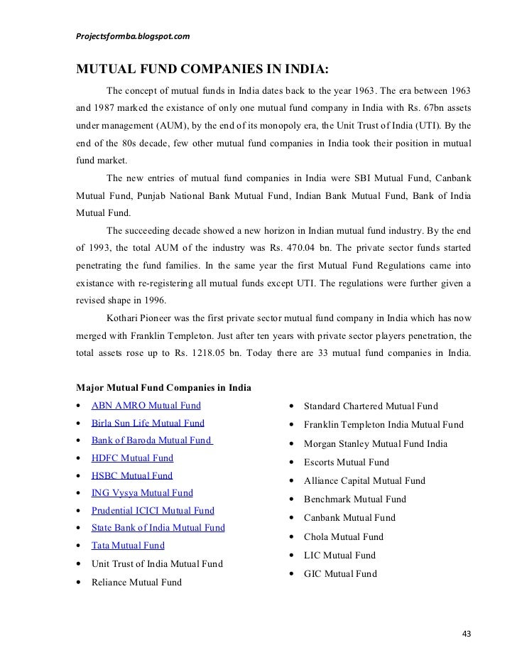 """project report on comparative study of mutual funds of different different companies """"comparative study of different 2012 xcellon institute- school of business project report on """"hr mutual funds industry in india recent data."""