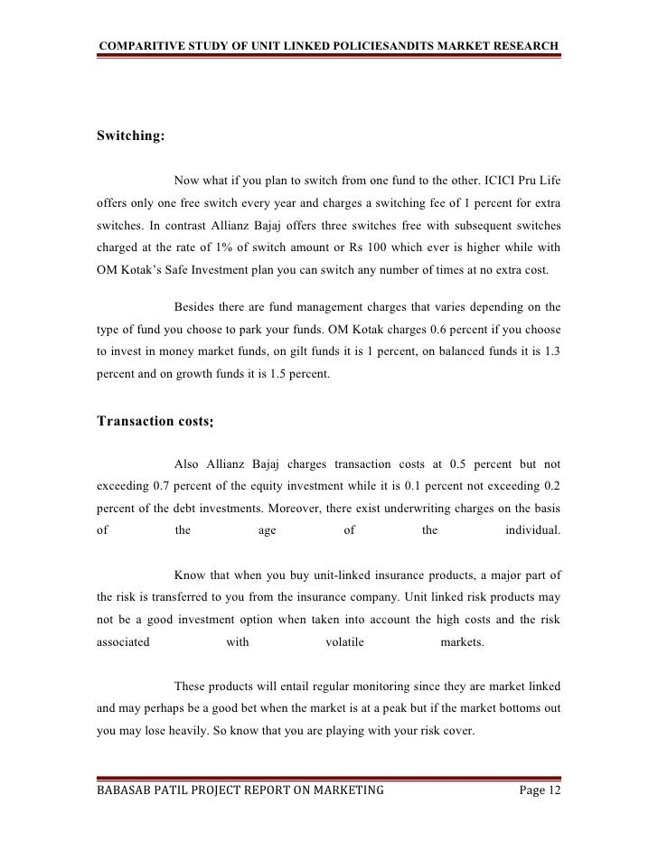 A Project Report On Comparitive Study Of Unit Linked