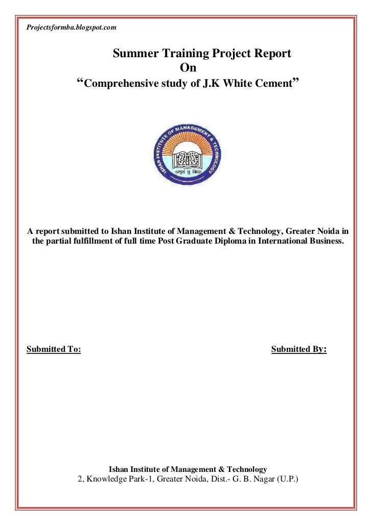 A Project Report On Comprehensive Study Of Jk White Cement - The-martyr-lamp-an-energy-saver-project