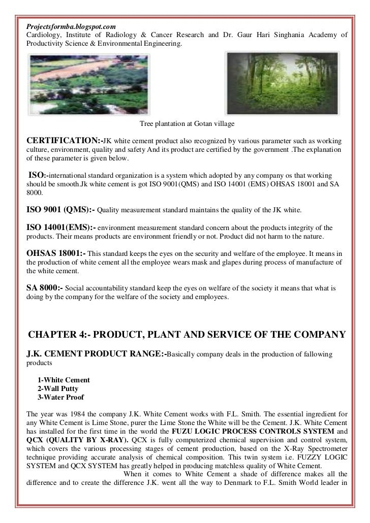 Jk White Cement : A project report on comprehensive study of j k white cement