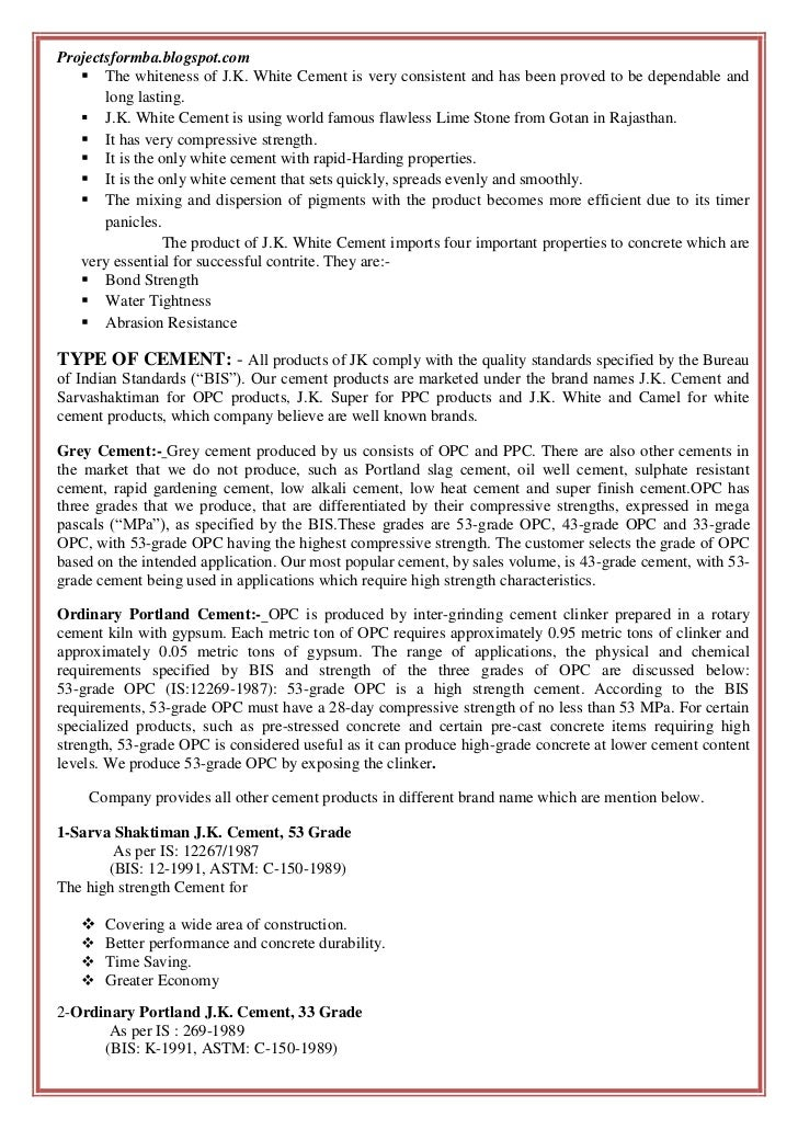 Gotan Jk White Cement : A project report on comprehensive study of j k white cement