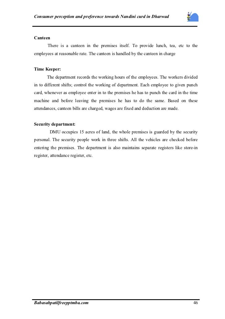 A project report on consumer perception and preference towards nandi…