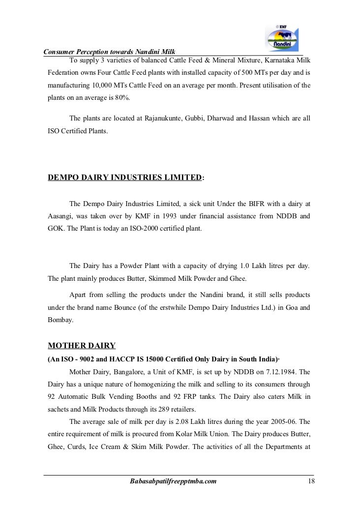 project report on tumkur milk union List of mba projects study on mandya milk union(mamul) project report on reasons for usage/non-usage of the value added services on sms by mobile phone.
