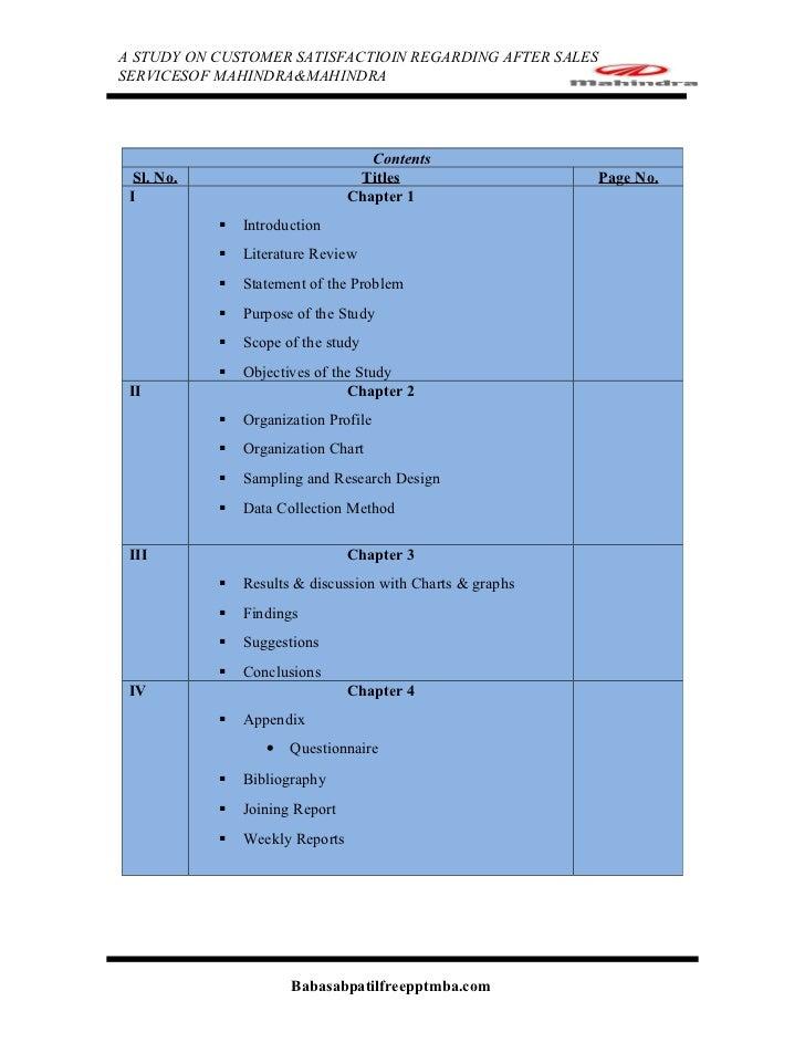 A STUDY ON CUSTOMER SATISFACTIOIN REGARDING AFTER SALESSERVICESOF MAHINDRA&MAHINDRA                                    Con...