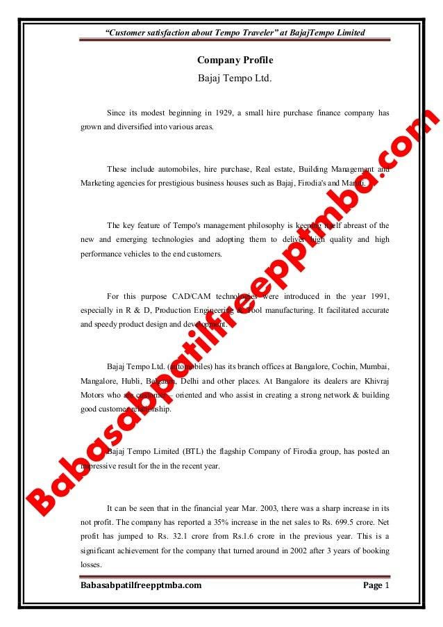 """Customer satisfaction about Tempo Traveler"" at BajajTempo Limited Babasabpatilfreepptmba.com Page 1 Company Profile Bajaj..."