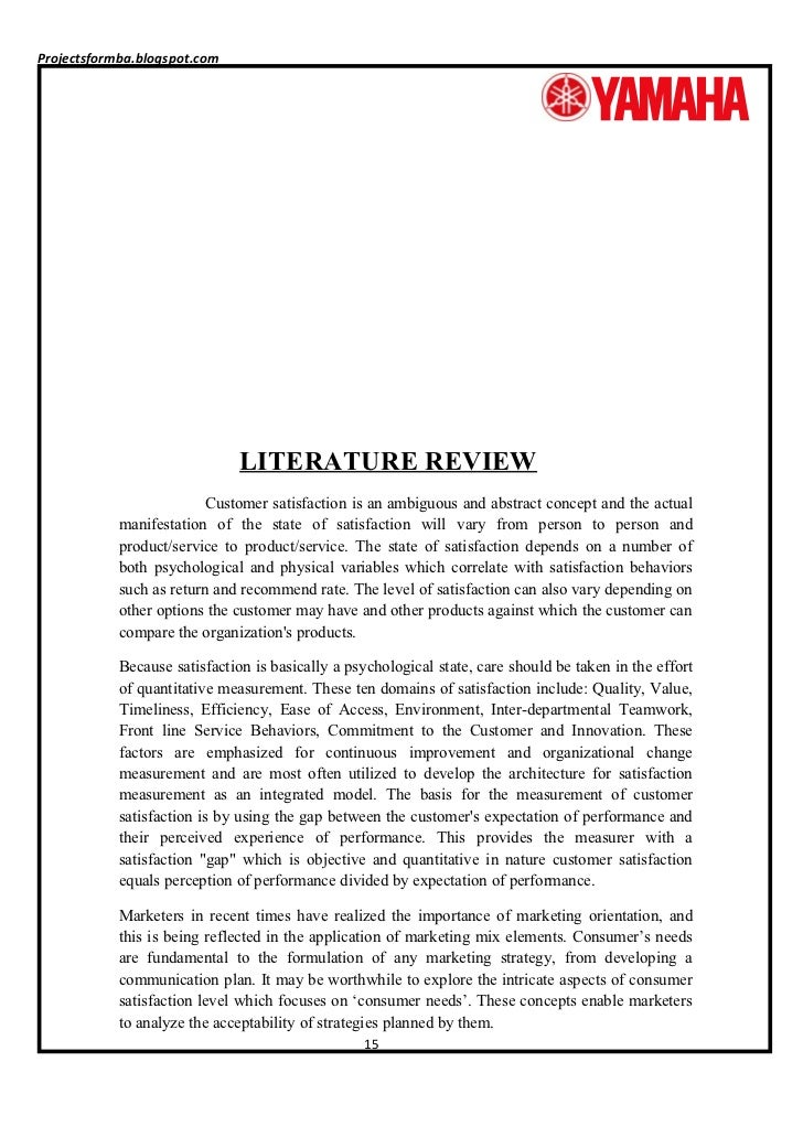 Review of literature on customer satisfaction on two wheeler book report services