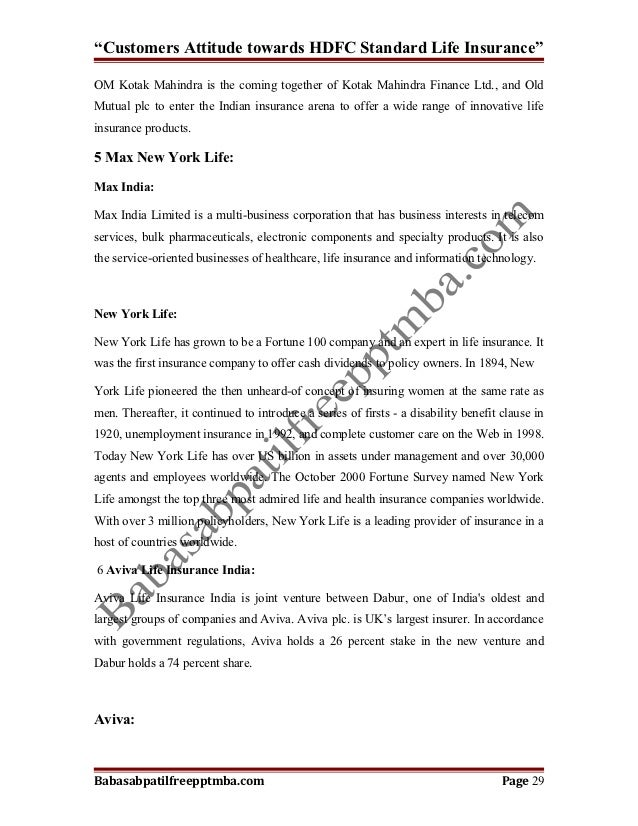 project report on consumer behaviour of hdfc standard life Financial analysis (of hdfc life) a major project report submitted in   the main focus area of the company is to manage and focus of customer profit   it is a joint venture between hdfc and a group of company of standard life.