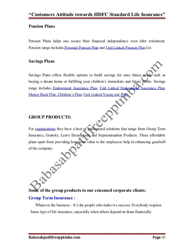 A project report on customers attitude towards hdfc standard