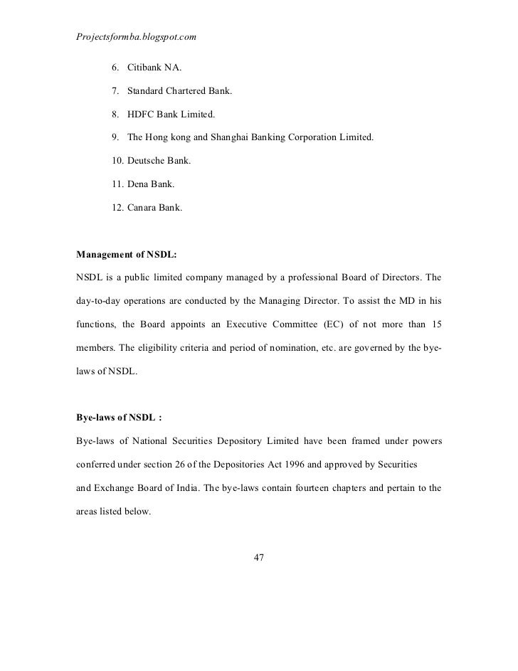 A Project Report On Depository System