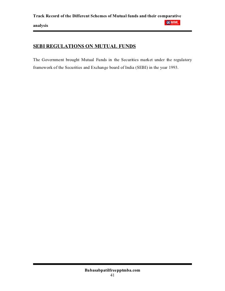 mutual fund analysis project report pdf