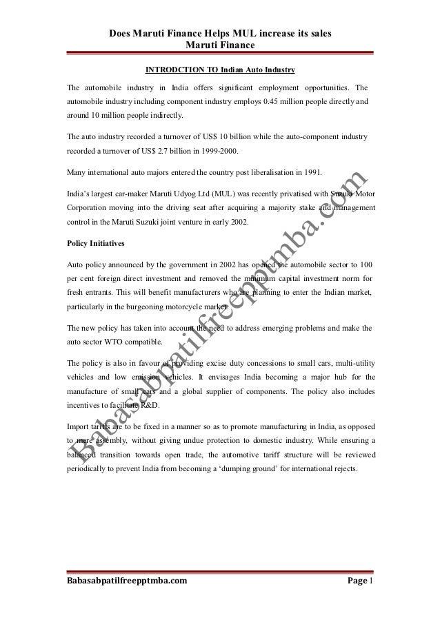 Does Maruti Finance Helps MUL increase its sales                             Maruti Finance                        INTRODC...