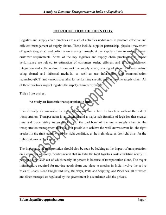 transport in india geography project pdf
