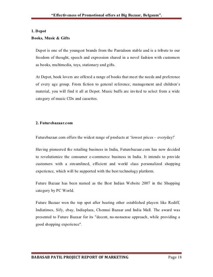 Project report on effectiveness of promotional strategies at big bazaar