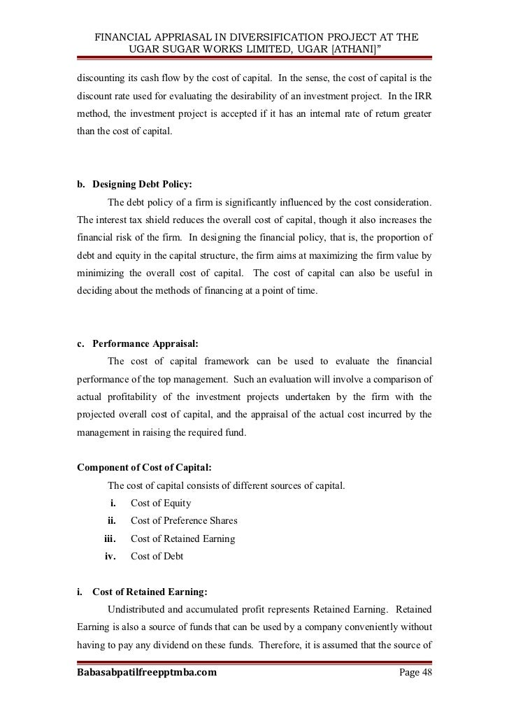 A project report on financial appriasal in diversification project a…