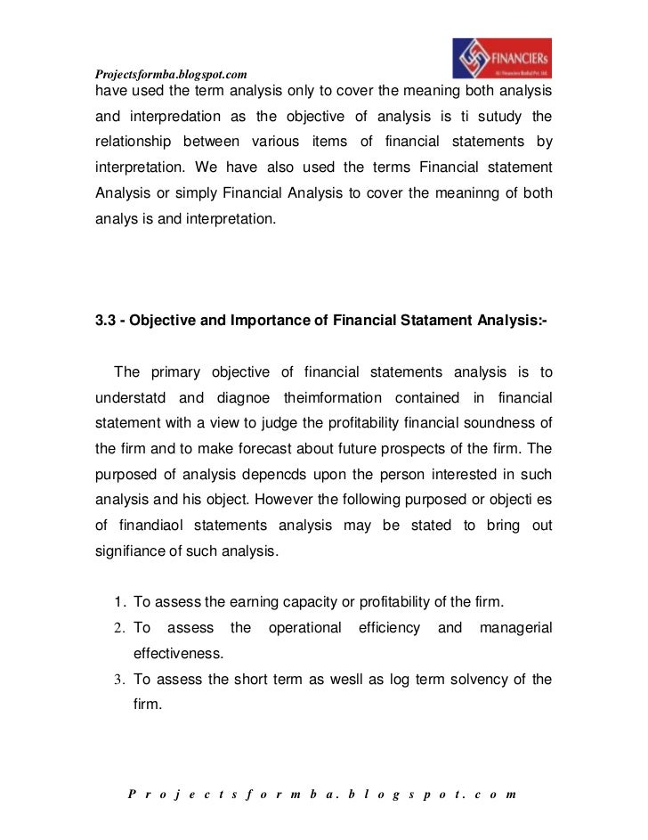 thesis on financial statement analysis The thesis and statement of the problem finance essay the thesis & statement of decision-making oversight of financial organizations credit risk analysis.