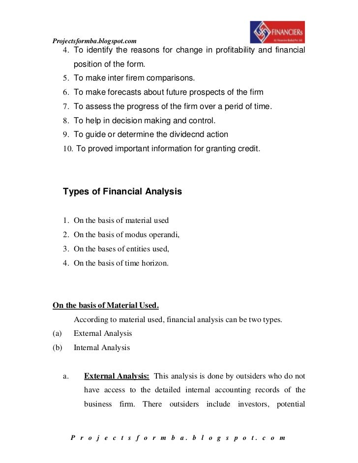 A project report on financial statement analysis – Company Financial Analysis Report Sample