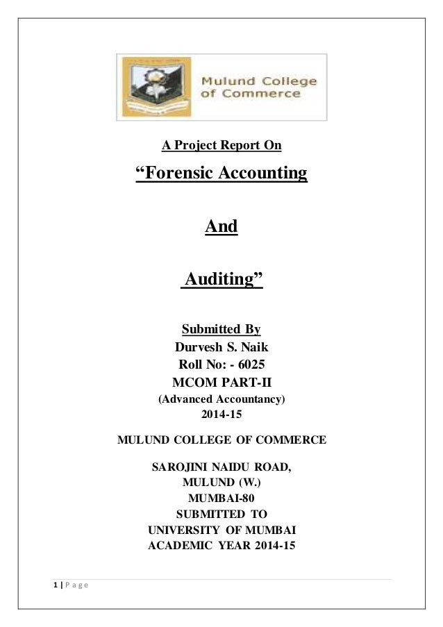 A project report on Forensic Accounting and Auditing