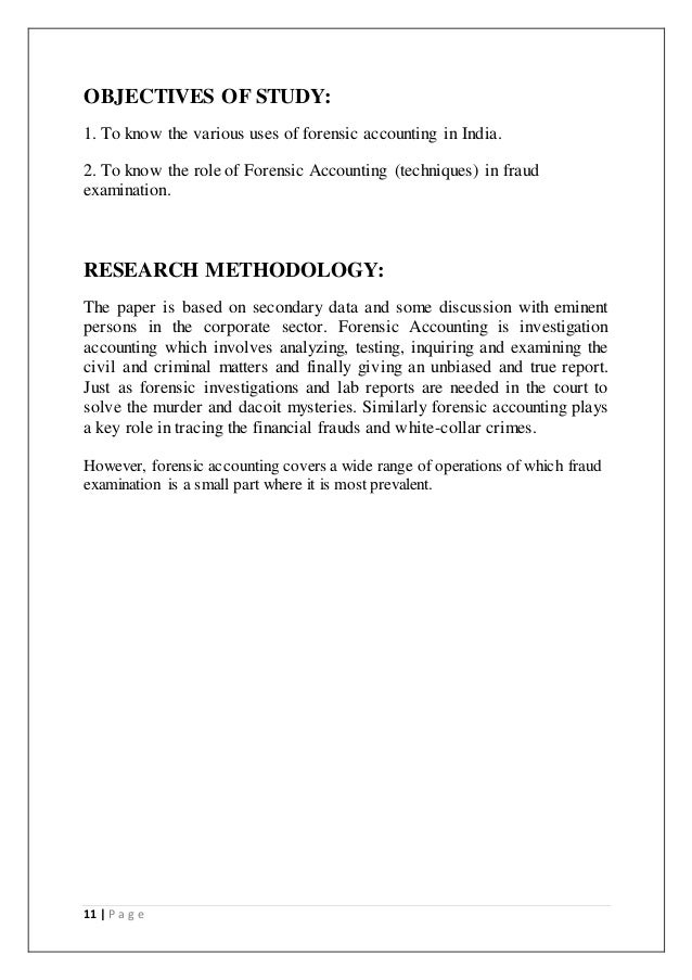 forensic accounting essay papers More essay examples on audit rubric since forensic accounting is the application of financial skills and investigative mentality to unresolved issues conducted within the context of the rules of evidence, the role of the forensic accountant involves information assurance or attestation to the reliability of information.
