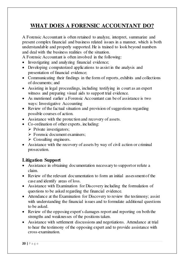a project report on forensic accounting and auditing 19 p a g e 20