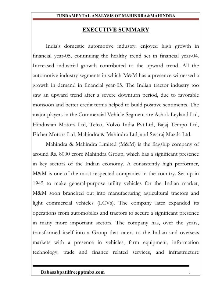 FUNDAMENTAL ANALYSIS OF MAHINDRAu0026MAHINDRA EXECUTIVE SUMMARY Indias Domestic  ...  Company Financial Analysis Report Sample