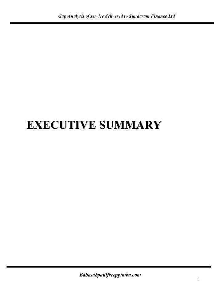 Gap Analysis of service delivered to Sundaram Finance LtdEXECUTIVE SUMMARY             Babasabpatilfreepptmba.com         ...