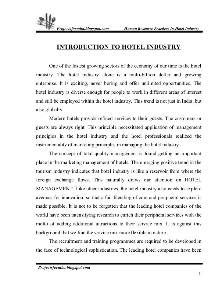A Project Report On Hr Practice In Hotel Industry