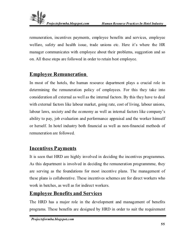 project report on employee satisfaction in hotel industry