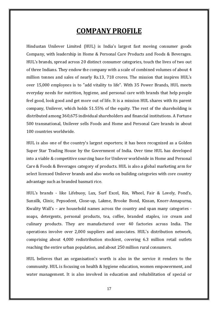 hul lakme project report Hindustan unilever limited (hul) is a consumer goods company based in  mumbai,  lakmé beauty products and salons lifebuoy soaps and handwash  range  has recognized hindustan unilever limited's project shakti for 'creating  shared  hul was ranked 47th in the brand trust report 2014 published by  trust.