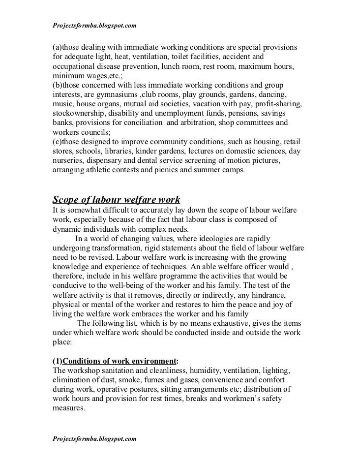 project report on labour welfare Project finance ( banks v/s nbfc ) [pic] executive summary considering the growing use of project finance, we undertook this project with an objective of understanding the salient features of project finance it is a method of financing very large capital intensive projects, with long gestation period, where the lenders rely on the assets.