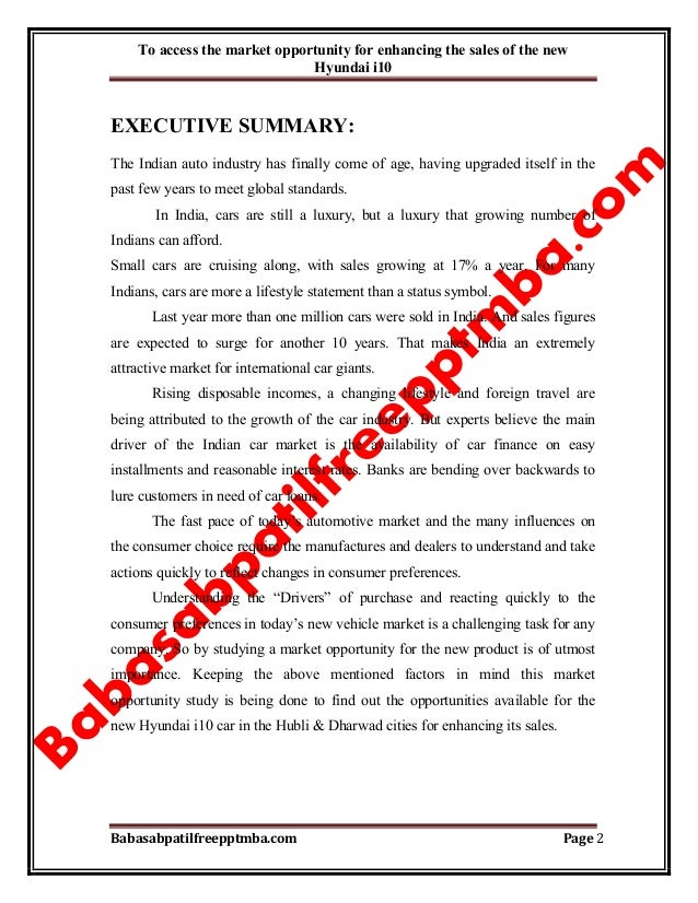 A Project Report On Market Opportunity For Enhancing The