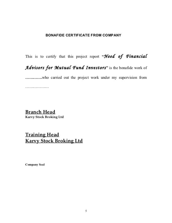 A Project Report On Need Of Financial Advisors For Mutual