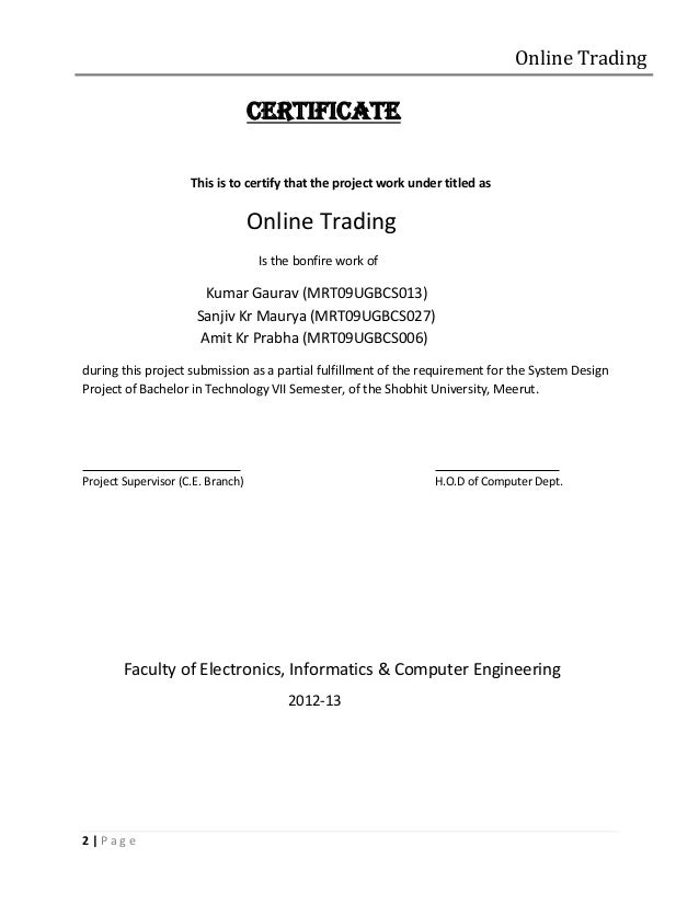Project report online share trading system