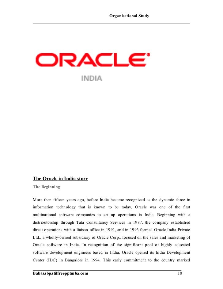A Project Report On Orgniziation Study Of Oracle