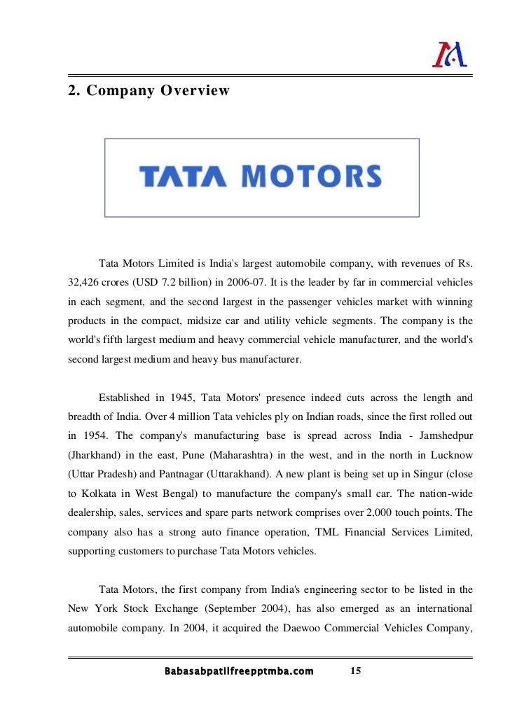 A Project Report On Orgnoziation Study Of Tata Motors
