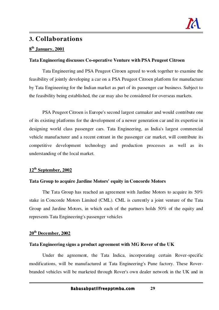 "project report of tata motor Project report on ""effect of declining market on tata motors"" by  nilesh r manghwani am 26 pgdm (mrkt) 2008-2010 sinhgad  institute."