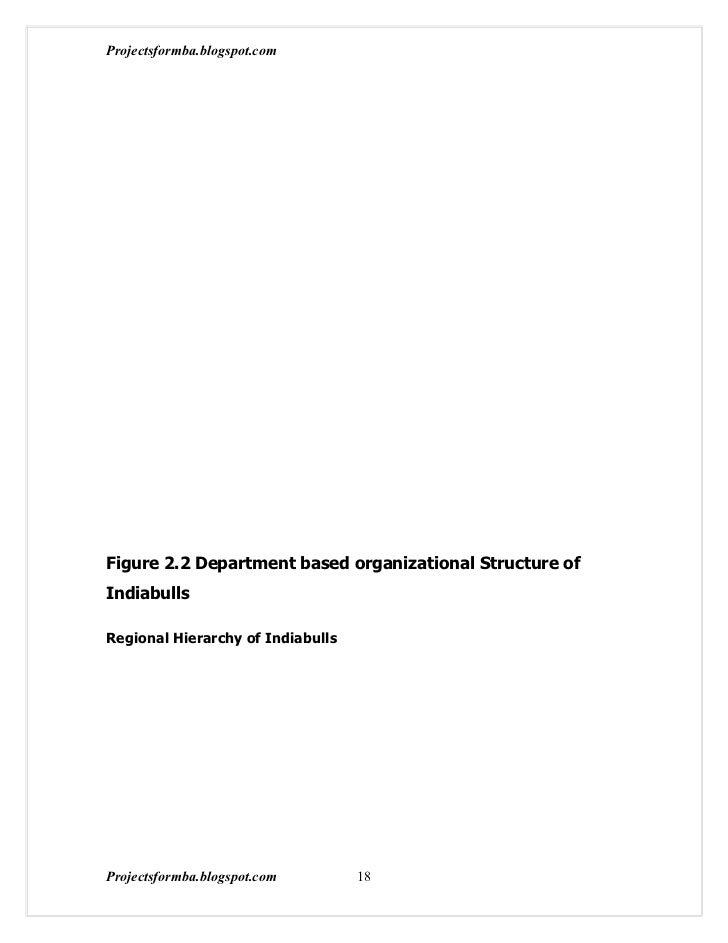 Projectsformba.blogspot.comFigure 2.2 Department based organizational Structure ofIndiabullsRegional Hierarchy of Indiabul...