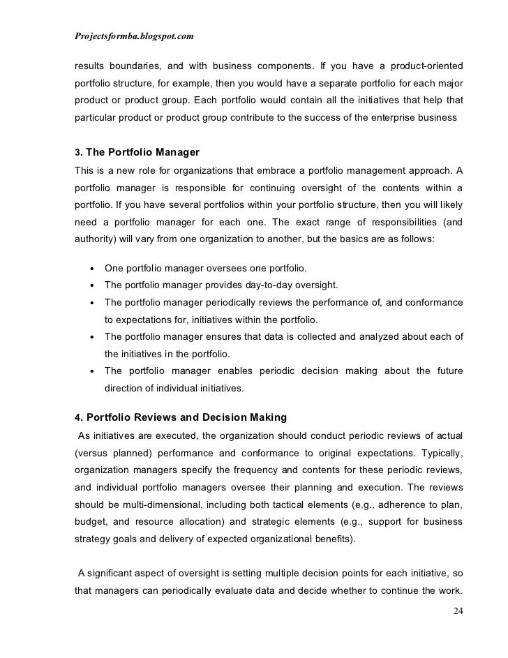 project overview example A project report on overview of portfolio management in india