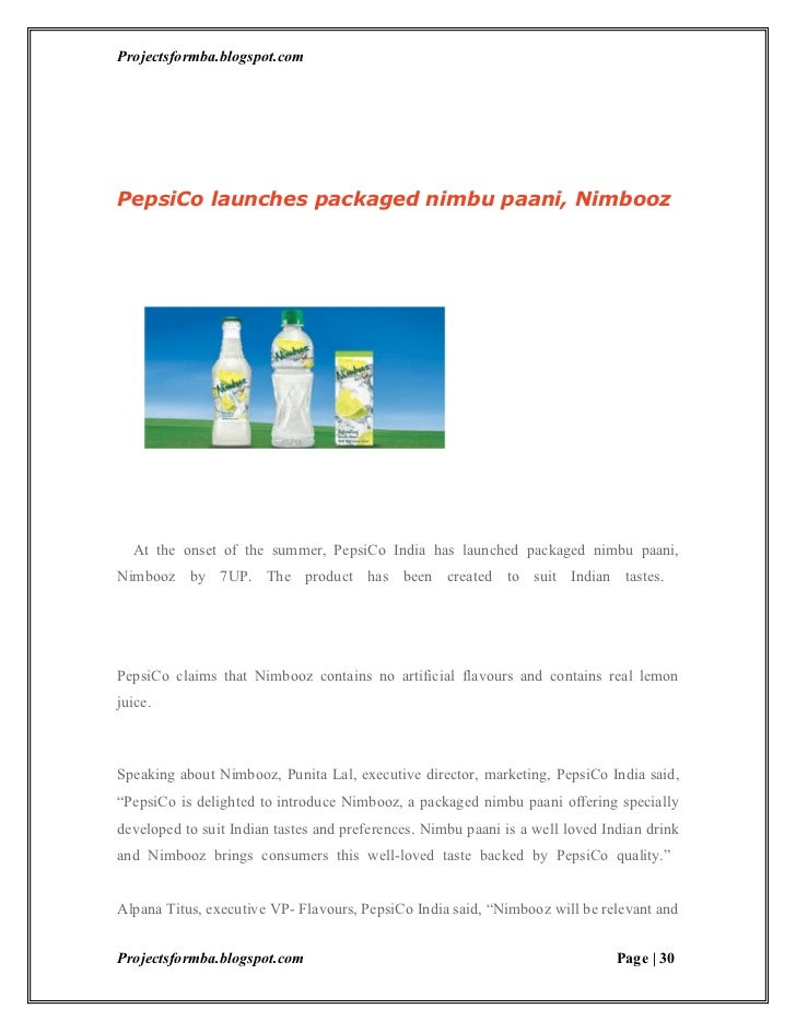 project report on pepsi A project report on pepsi co - free download as word doc (doc / docx), pdf file (pdf), text file (txt) or read online for free.