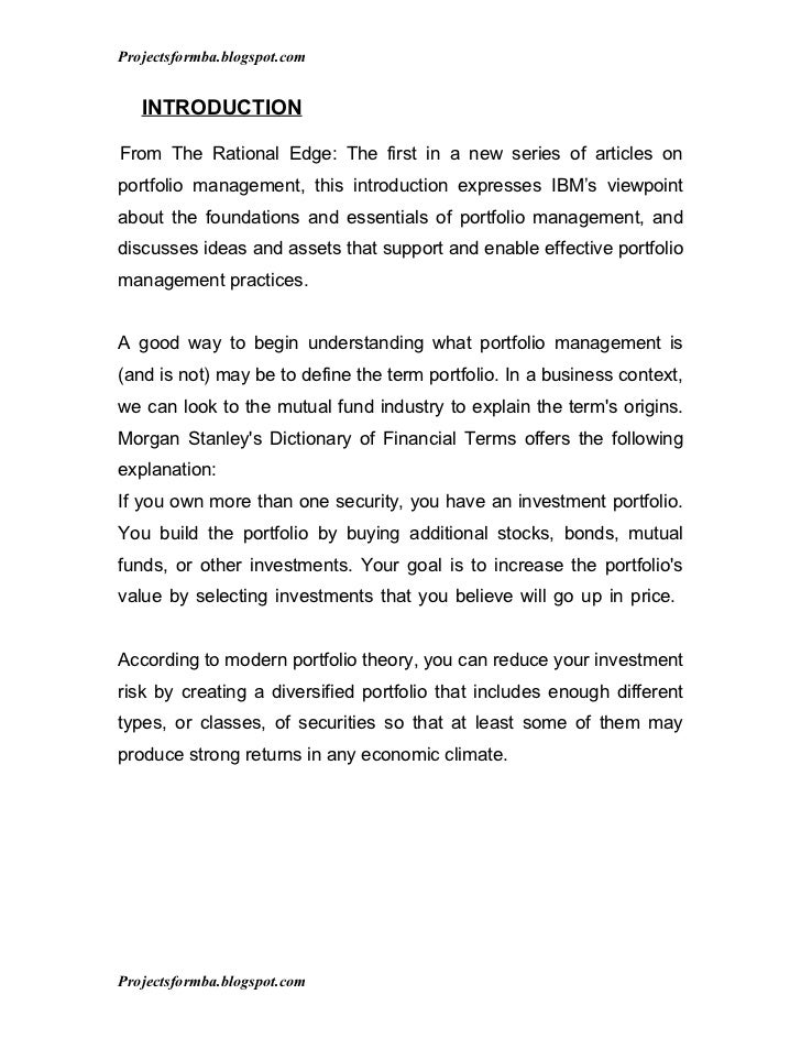 Projectsformba.blogspot.com   INTRODUCTIONFrom The Rational Edge: The first in a new series of articles onportfolio manage...