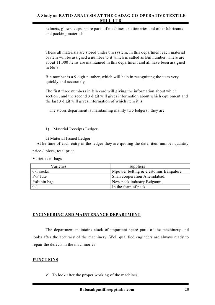 textile project report for mba