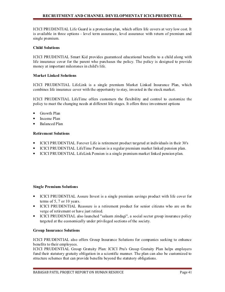 project report on icici pru A report on promotional strategies adopted by icici prudential life insurance co ltd by saurabh singh baghel icici prudential life insurance coltd.