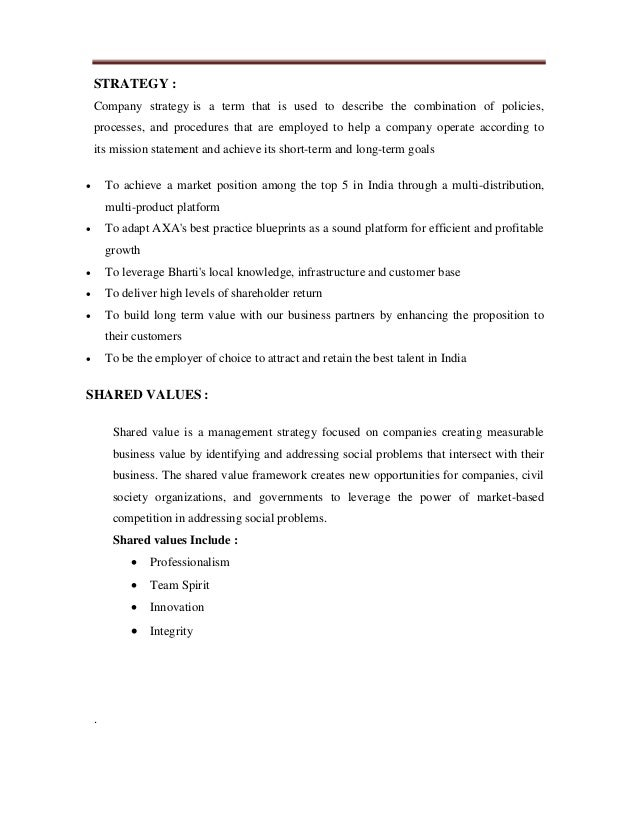 Strategic analysis axa